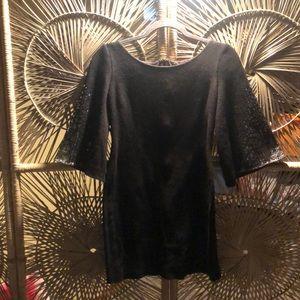 St. John Black Wool dress with bell sleeve detail